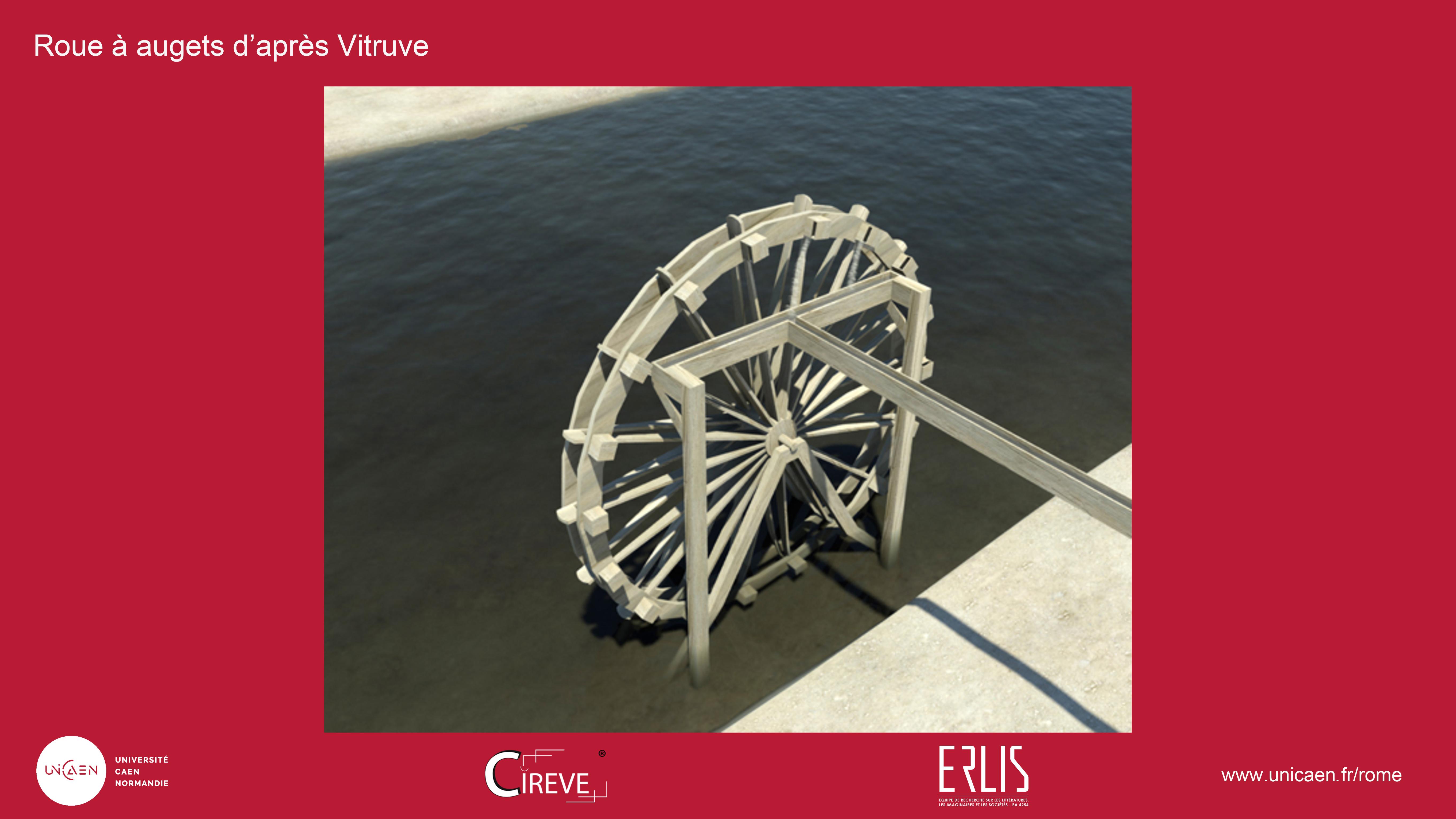 Roue à augets selon Vitruve