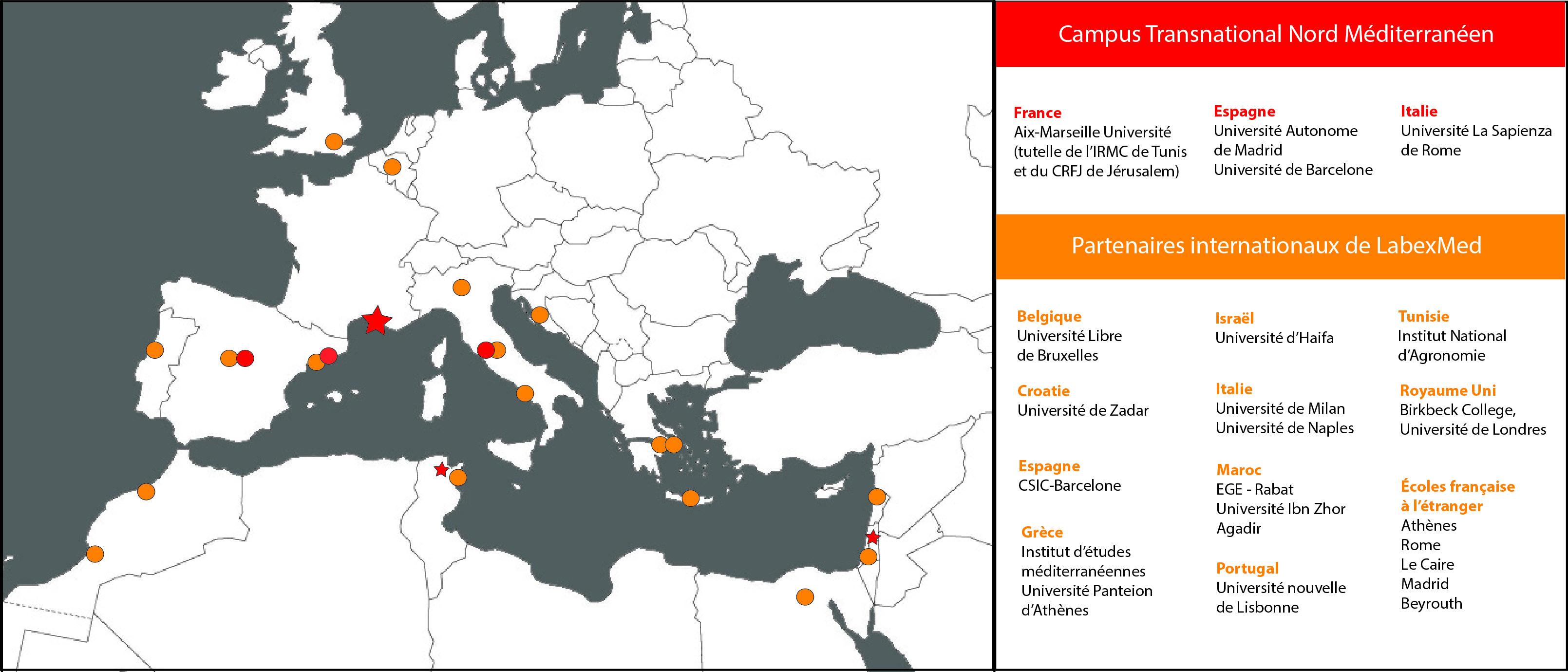 Carte du réseau des partenaires de LabexMed
