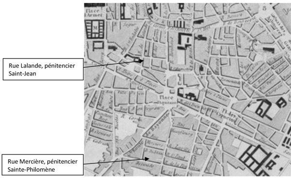 Fig. 8. Plan de Bordeaux en 1837. Localisation des pénitenciers de Saint-Jean et de Sainte-Philomène.