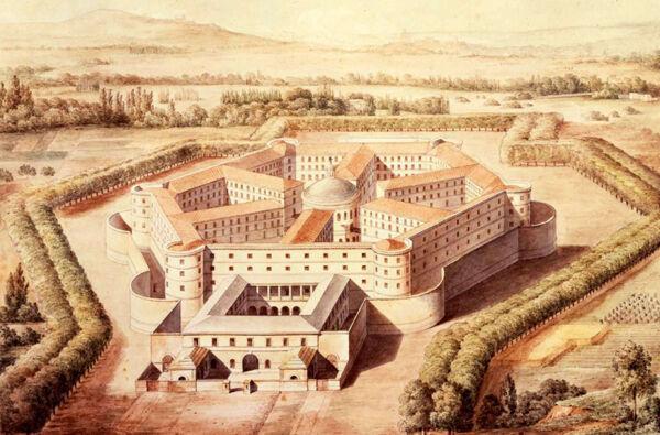 Fig. 5. Prison de la Petite Roquette, vue à vol d'oiseau. Construite de 1826 à 1836 (détruite en 1974). Exemple d'architecture de prison panoptique (Bentham),  Hippolyte Le Bas (1782-1867) (© RMN-Grand Palais - J. Hutin).