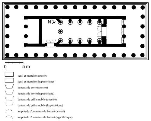 Basse, temple d'Apollon Epicourios. Plan restitué (dessin M. Dromain).
