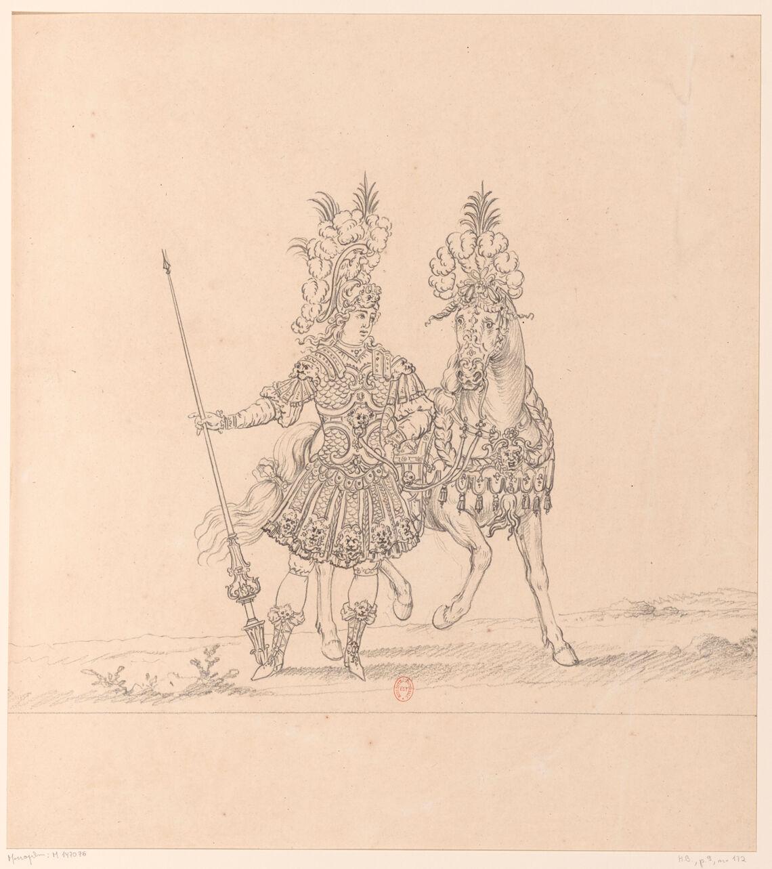 Cavalier au pied d'un cheval. Représentation d'un chevalier des Plaisirs de l'île enchantée ?