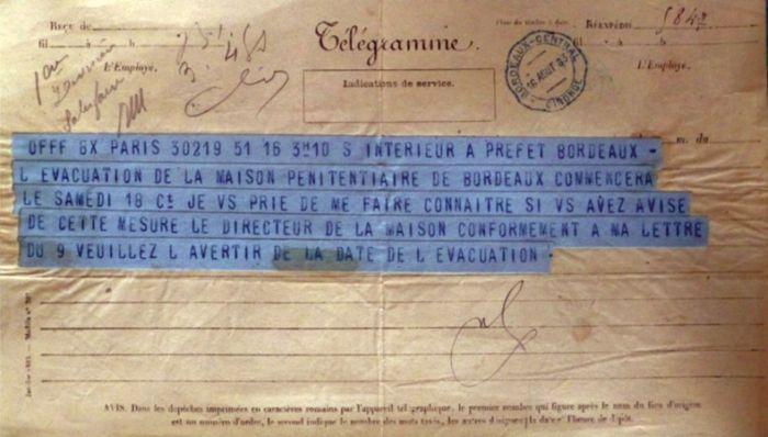 Fig. 12. 26 juillet 1870, télégramme du ministre de l'Intérieur au préfet (Source : ADG, Y 260).