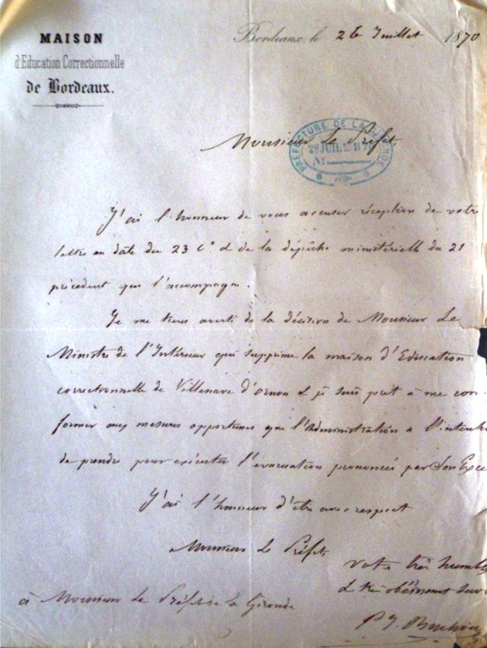 Fig. 13. Lettre de l'abbé Buchou au préfet entérinant la fermeture de la Maison d'éducation correctionnelle (Source : ADG, Y 260).
